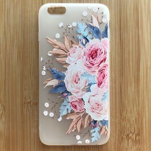 Accessories - NEW Iphone 6/6s/6+/6s+ Floral Flowers Pink Case